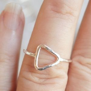 Open square ring geometric sterling silver
